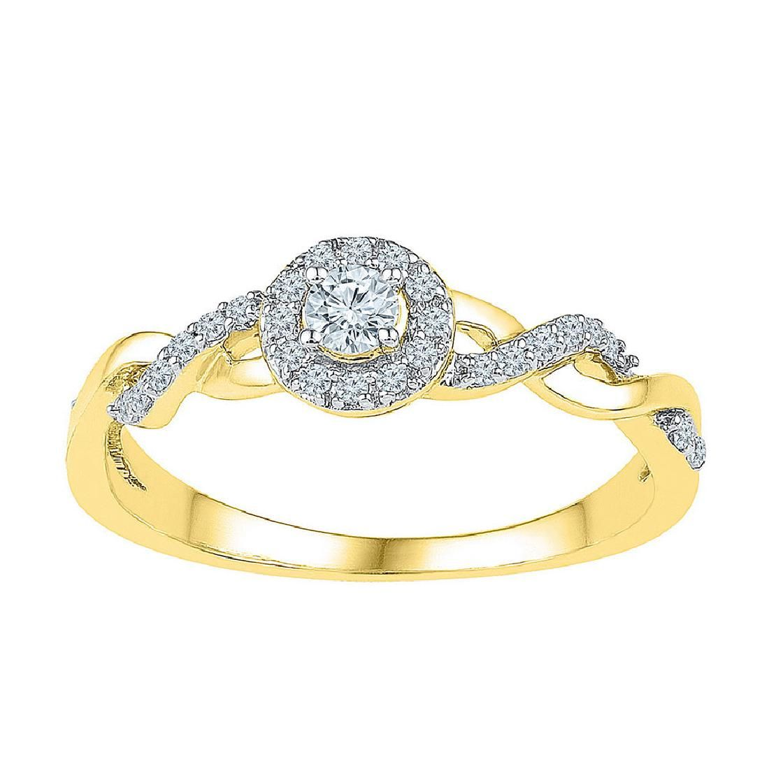 021 CTW Diamond Solitaire Bridal Engagement Ring 10KT