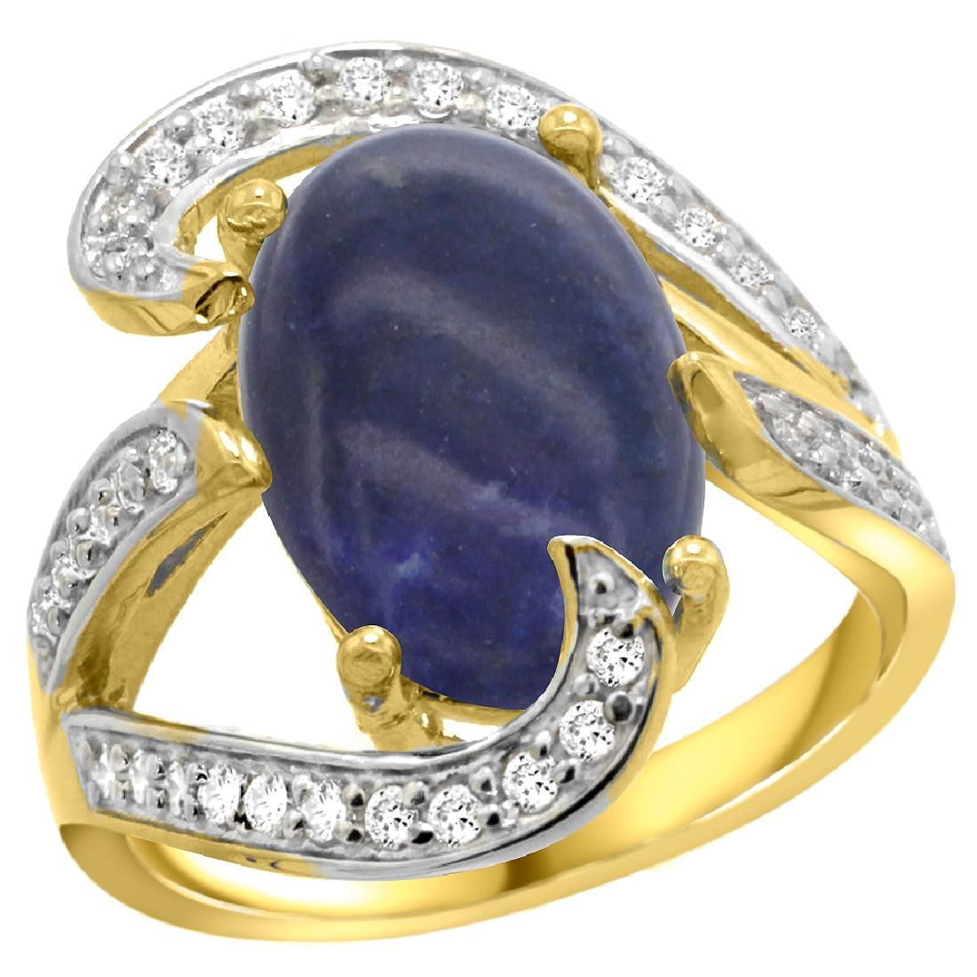 Natural 524 ctw lapislazuli Diamond Engagement Ring