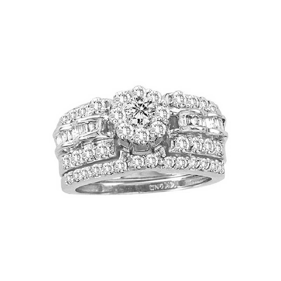138 CTW Diamond Cluster Bridal Engagement Ring 14KT
