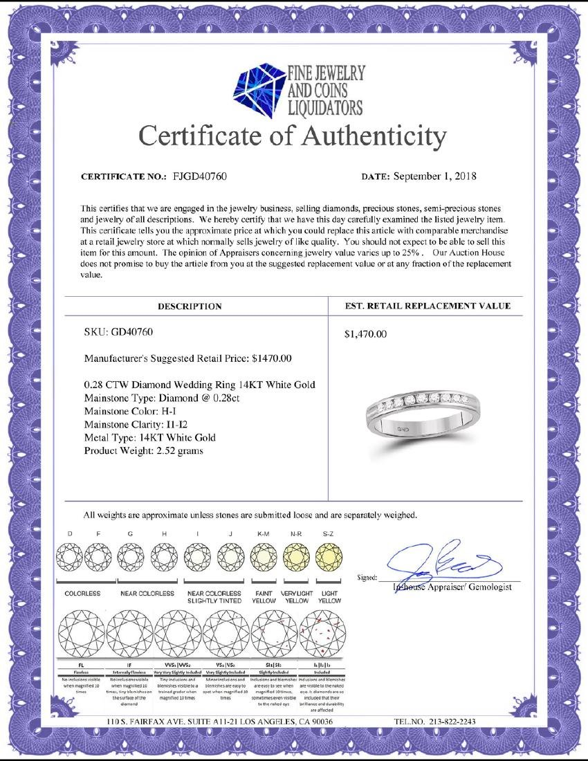 0.28 CTW Diamond Wedding Ring 14KT White Gold - - 2