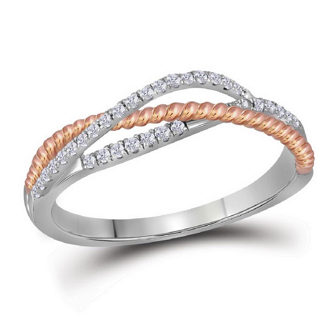 0.20 CTW Diamond Rope Crossover Strand Ring 10KT