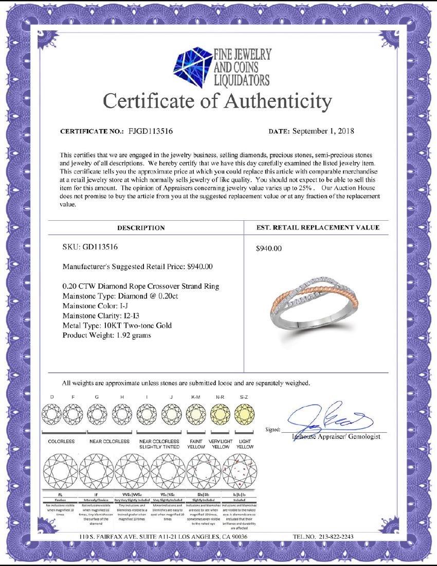 0.20 CTW Diamond Rope Crossover Strand Ring 10KT - 2