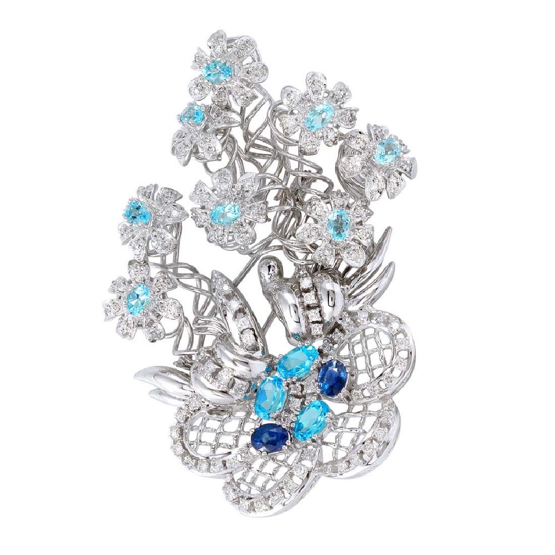 6.19 CTW Sapphire & Diamond Brooch 18K White Gold -