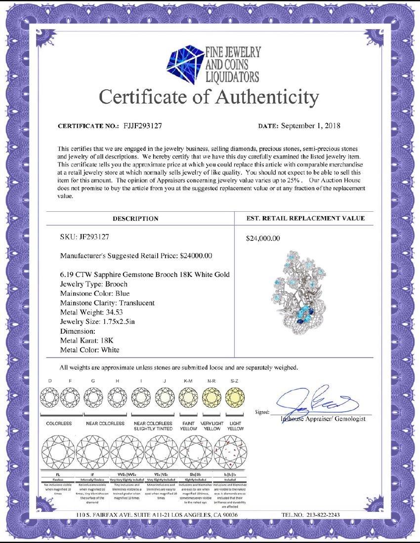 6.19 CTW Sapphire & Diamond Brooch 18K White Gold - - 2