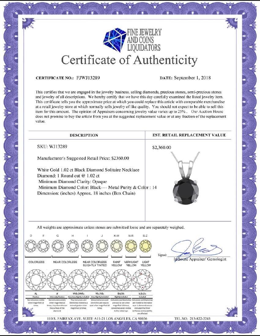 14K White Gold 1.02 ct Black Diamond Solitaire Necklace - 2