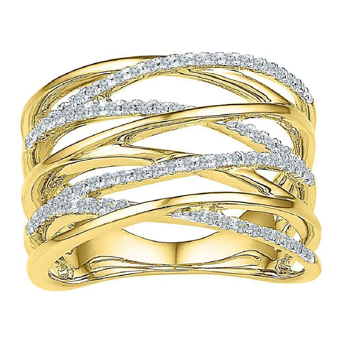 0.25 CTW Diamond Crossover Open Strand Ring 10KT Yellow