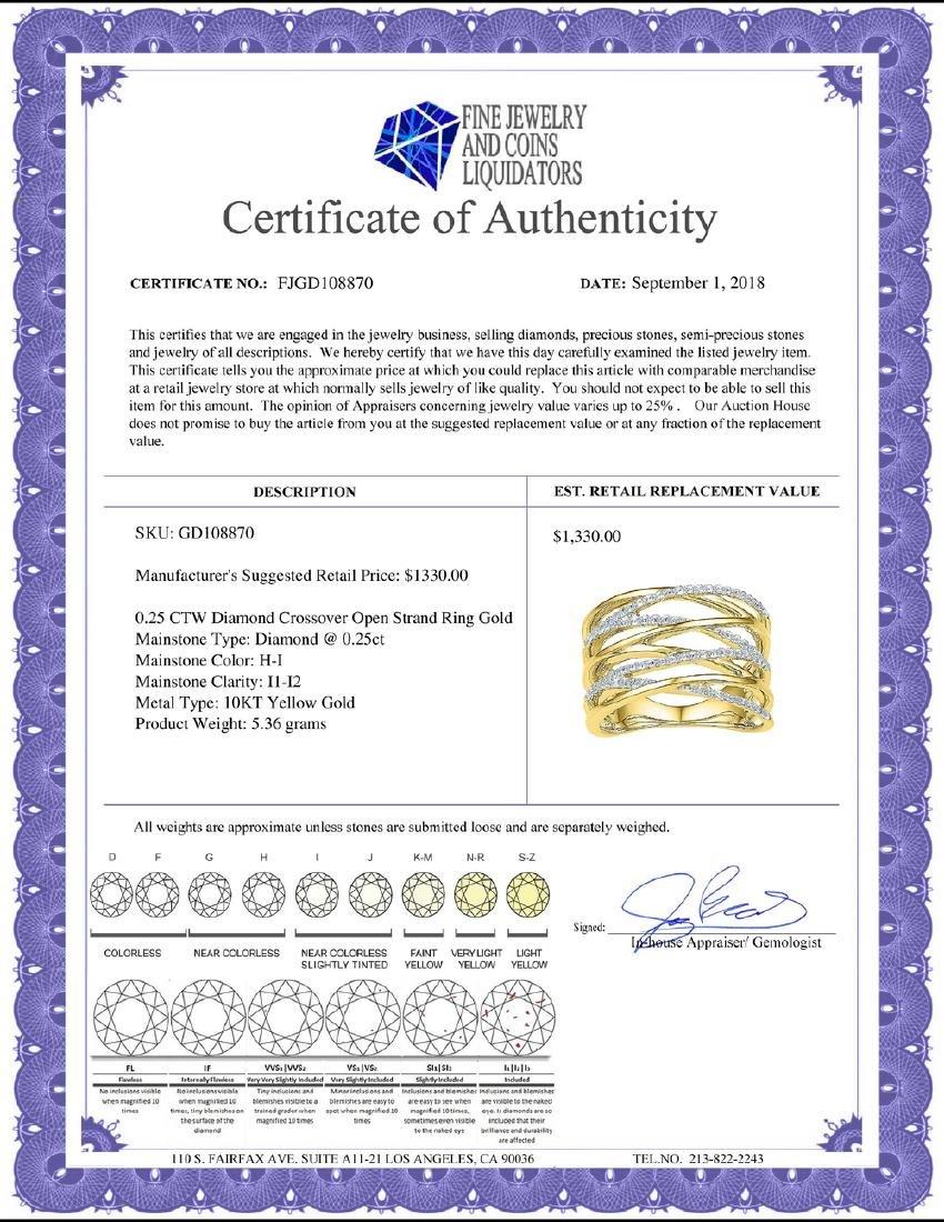 0.25 CTW Diamond Crossover Open Strand Ring 10KT Yellow - 2