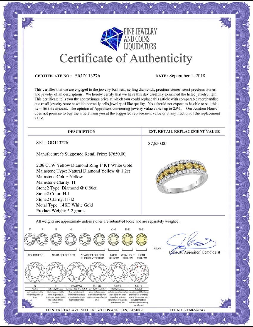 2.06 CTW Yellow Diamond Ring 14KT White Gold - - 2