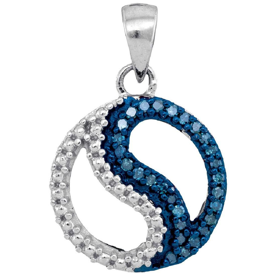 0.10 CTW Blue Color Diamond Circle Ying Yang Pendant