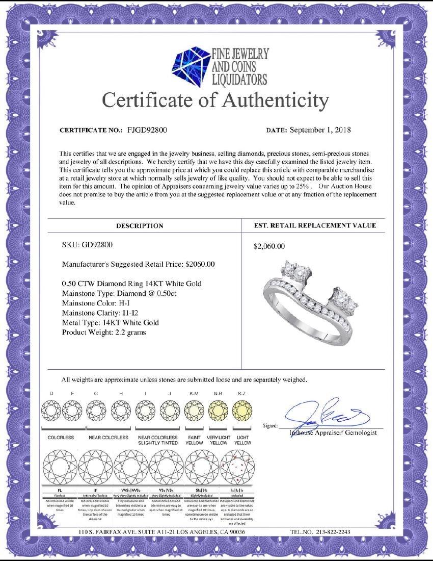 0.50 CTW Diamond Ring 14KT White Gold - REF-52W4K - 2