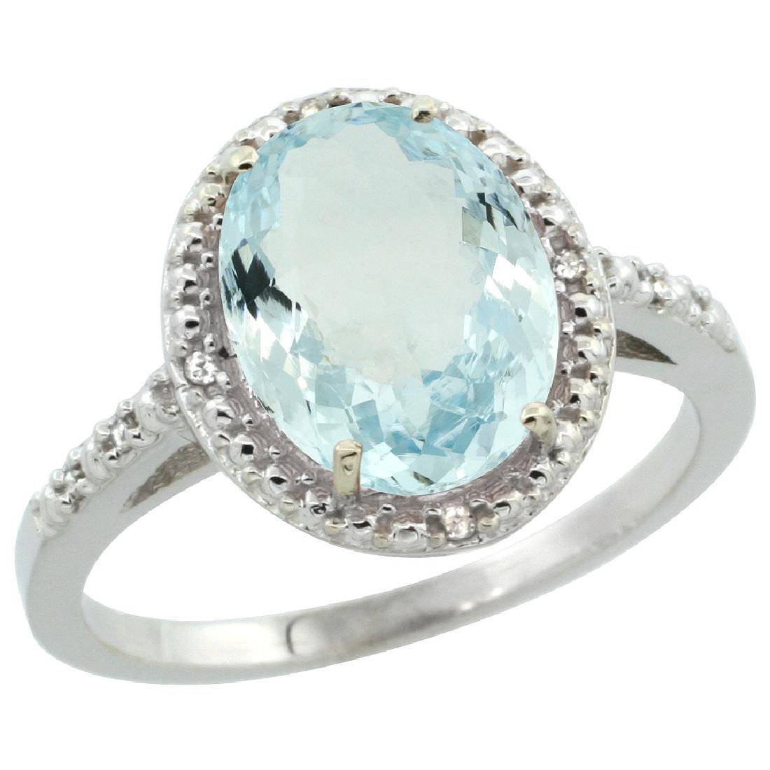 Natural 2.12 ctw Aquamarine & Diamond Engagement Ring