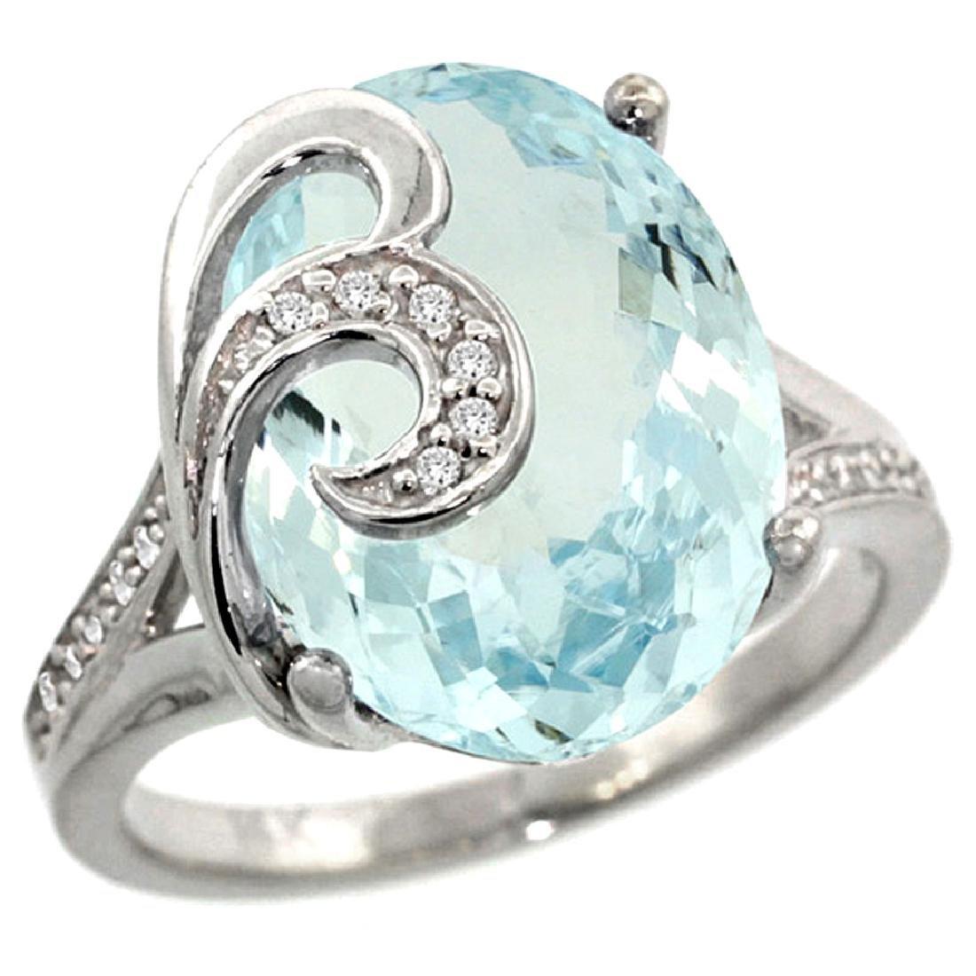 Natural 11.18 ctw aquamarine & Diamond Engagement Ring