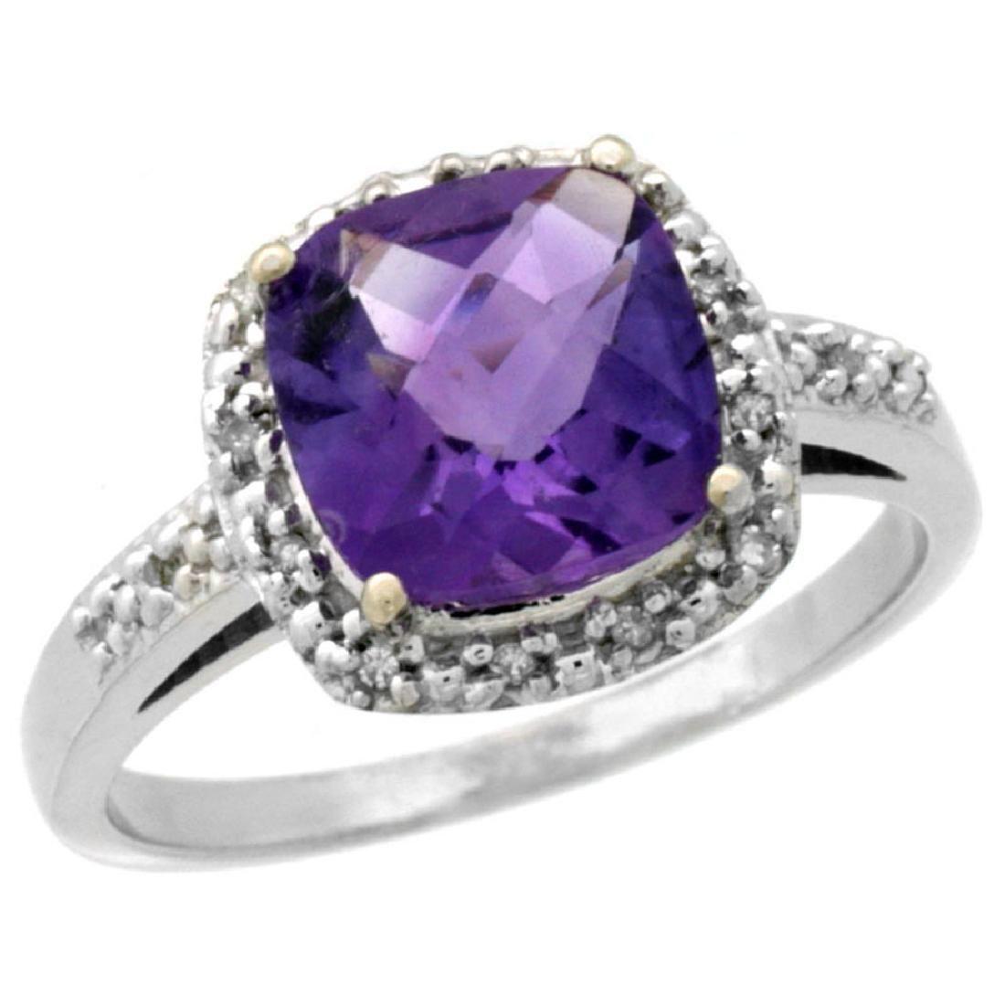 Natural 3.92 ctw Amethyst & Diamond Engagement Ring 14K