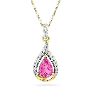 165 CTW Pear Created Pink Sapphire Solitaire Diamond