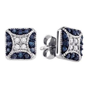 050 CTW Blue Color Diamond Square Cluster Earrings