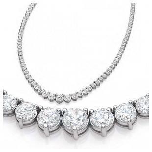 Natural 722CTW VS2IJ Diamond Tennis Necklace 18K