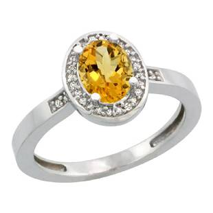 Natural 108 ctw Citrine Diamond Engagement Ring 14K