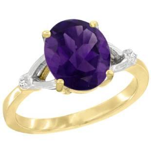 Natural 241 ctw Amethyst Diamond Engagement Ring 10K