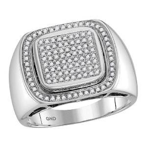 0.55 CTW Mens Diamond Square Cluster Ring 10KT White