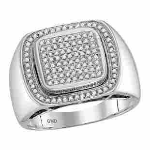 055 CTW Mens Diamond Square Cluster Ring 10KT White