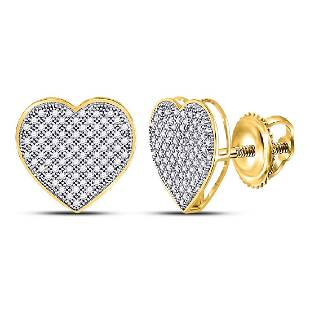 050 CTW Diamond Heart Love Cluster Earrings 10KT