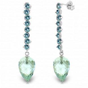 Genuine 256 ctw Blue Topaz Earrings Jewelry 14KT White