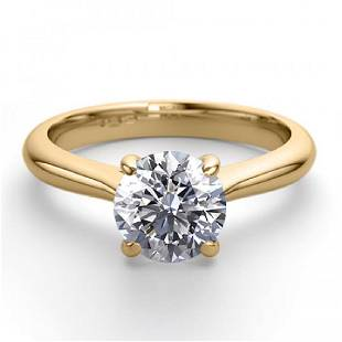 14K Yellow Gold 091 ctw Natural Diamond Solitaire Ring