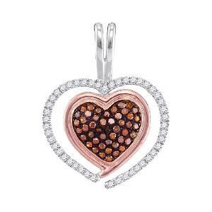 0.25 CTW Red Color Diamond Heart Love Pendant 10KT