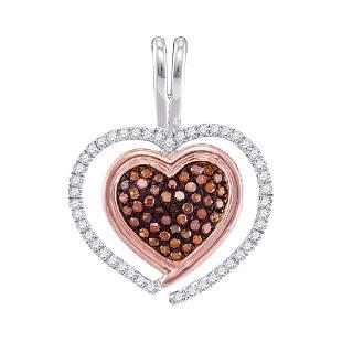 025 CTW Red Color Diamond Heart Love Pendant 10KT