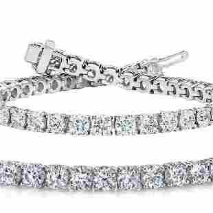 Natural 7ct VSSI Diamond Tennis Bracelet 18K White