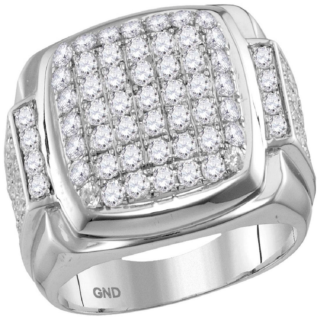 2.65 CTW Mens Diamond Square Symmetrical Cluster Ring