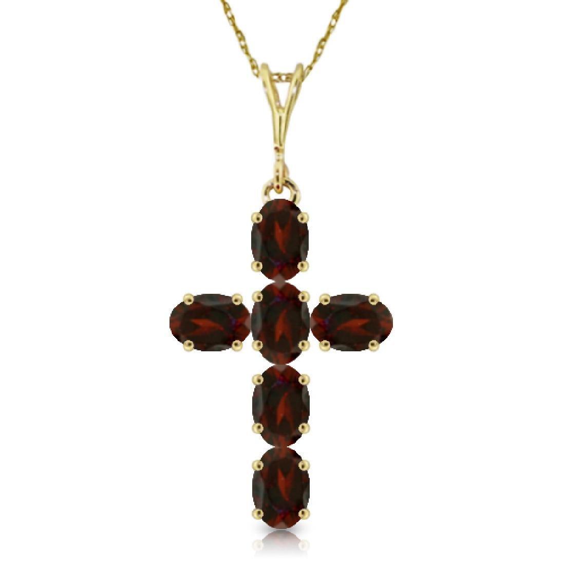 Genuine 1.50 ctw Garnet Necklace Jewelry 14KT Yellow