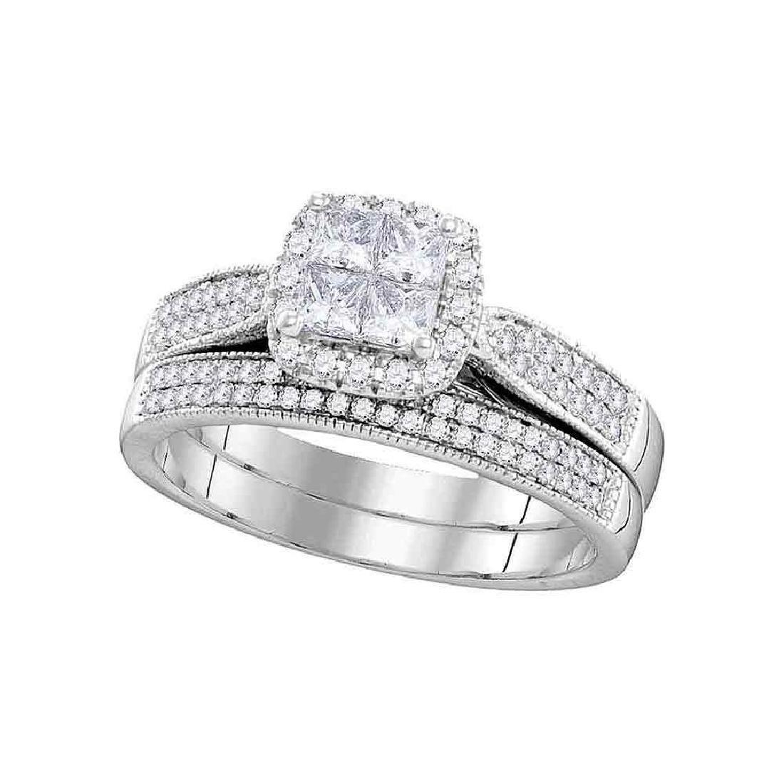 0.76 CTW Princess Diamond Cluster Halo Bridal