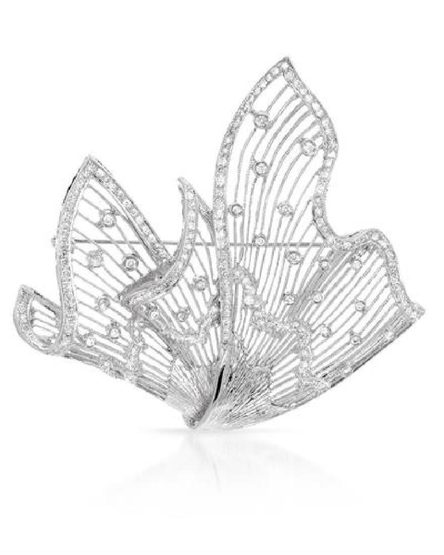 1.37 CTW Diamond Brooch 18K White Gold - REF-214R5K