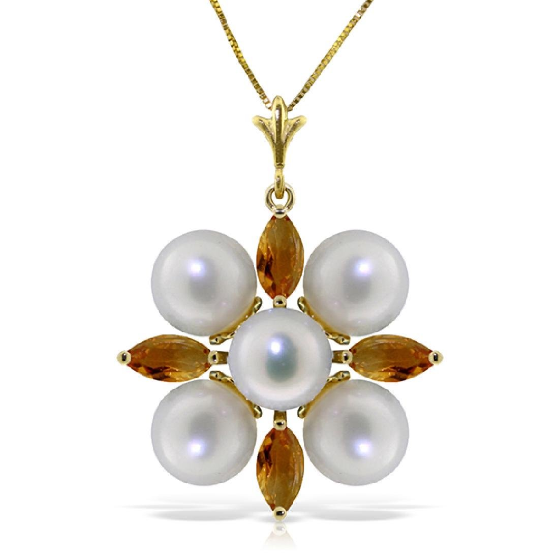 Genuine 6.3 ctw Citrine & Pearl Necklace Jewelry 14KT