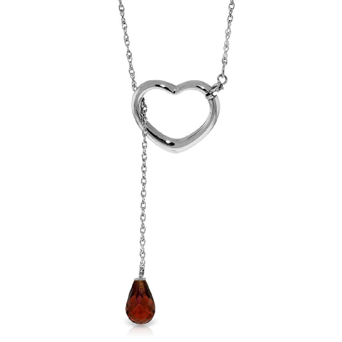 Genuine 2.25 ctw Garnet Necklace Jewelry 14KT White
