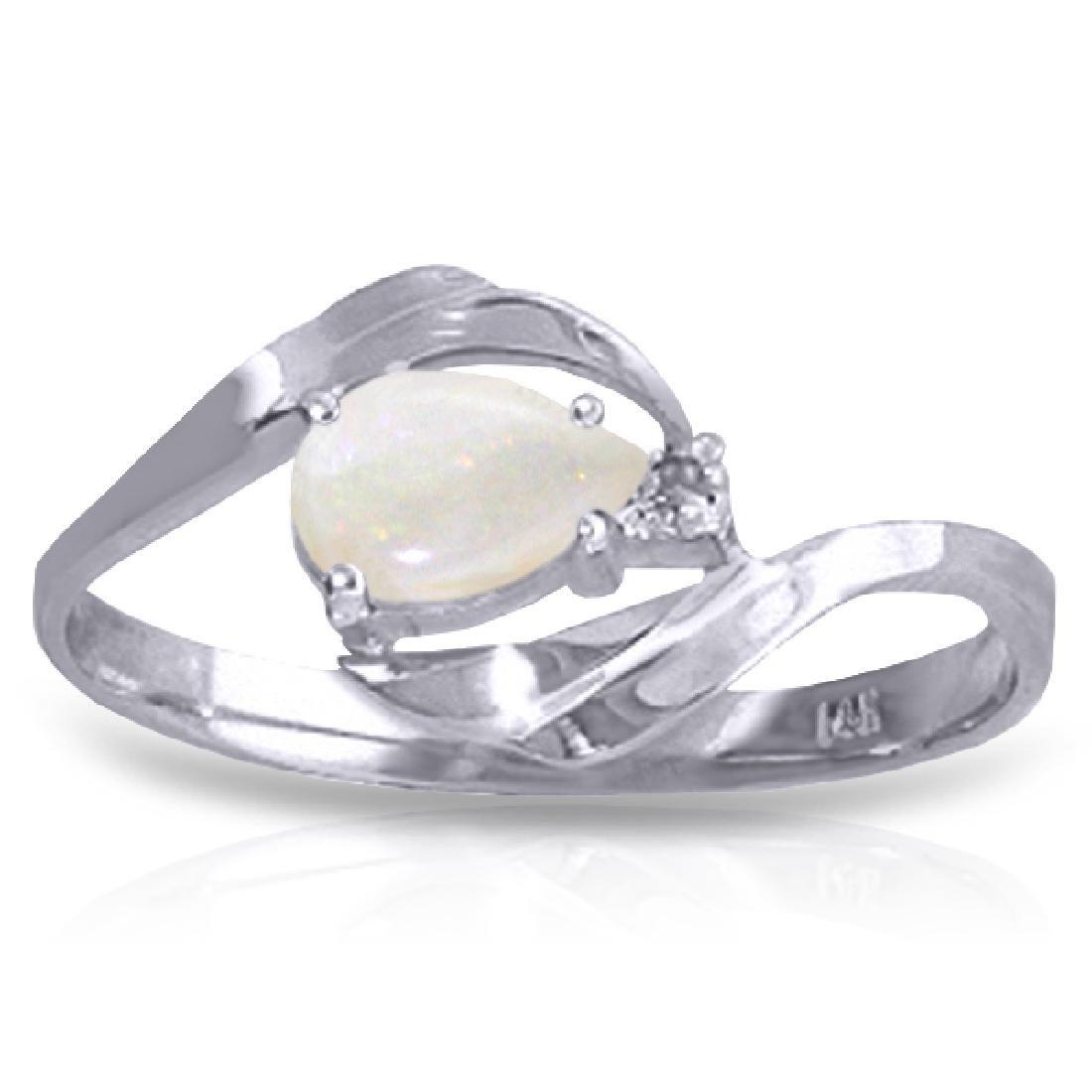 Genuine 0.26 ctw Opal & Diamond Ring Jewelry 14KT White