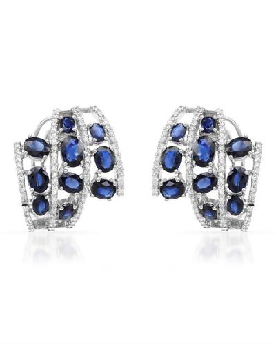 7.33 CTW Sapphire & Diamond Earrings 18K White Gold -