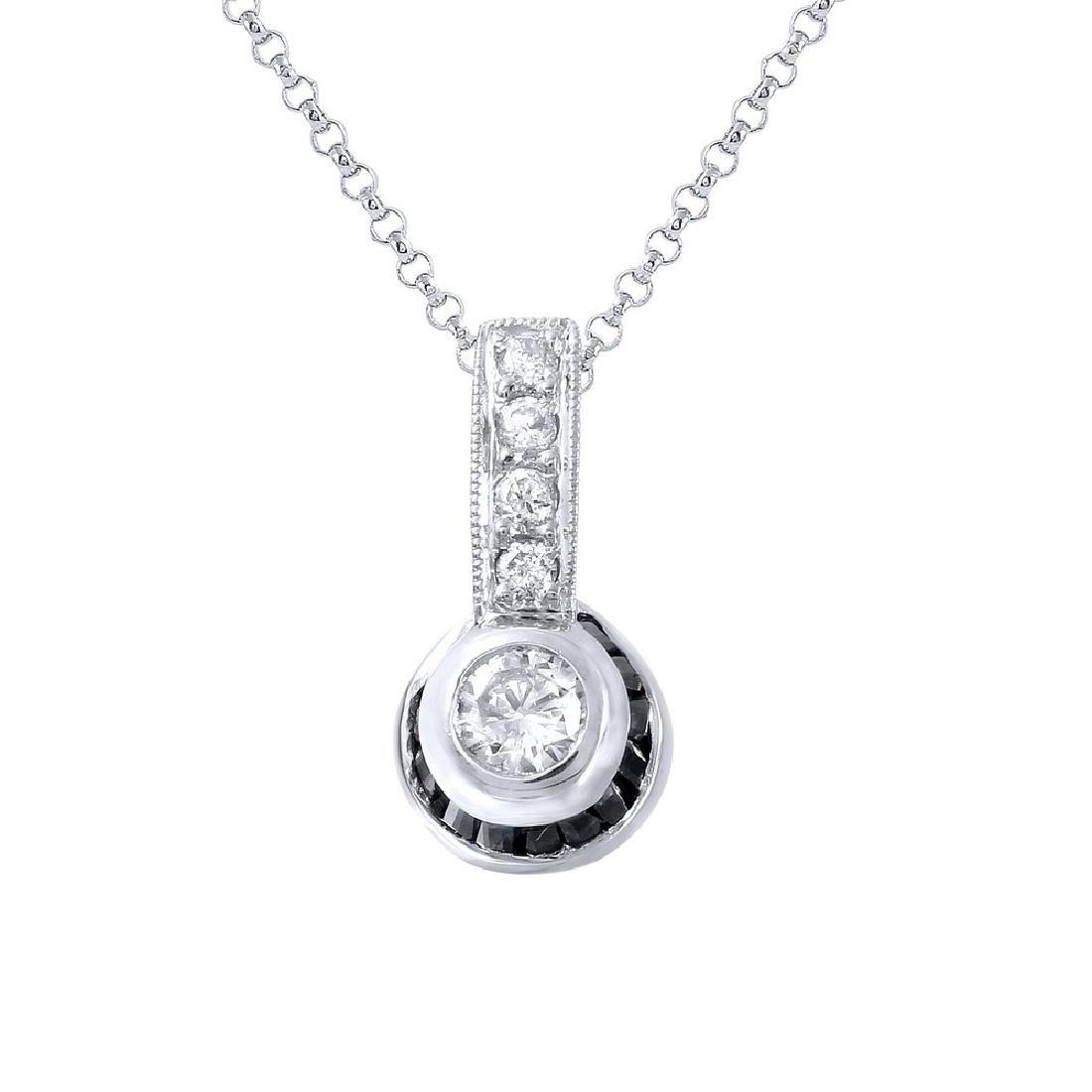 0.59 CTW Sapphire & Diamond Pendant 18K White Gold -