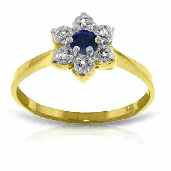 Genuine 0.19 ctw Sapphire & Diamond Ring Jewelry 14KT