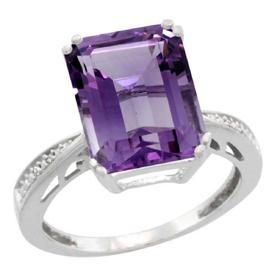 Natural 5.42 ctw amethyst & Diamond Engagement Ring 14K