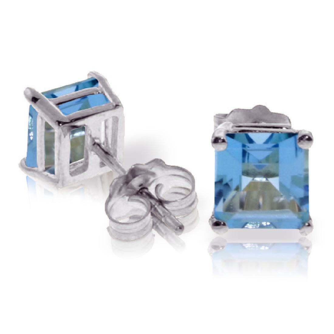 Genuine 1.75 ctw Blue Topaz Earrings Jewelry 14KT White