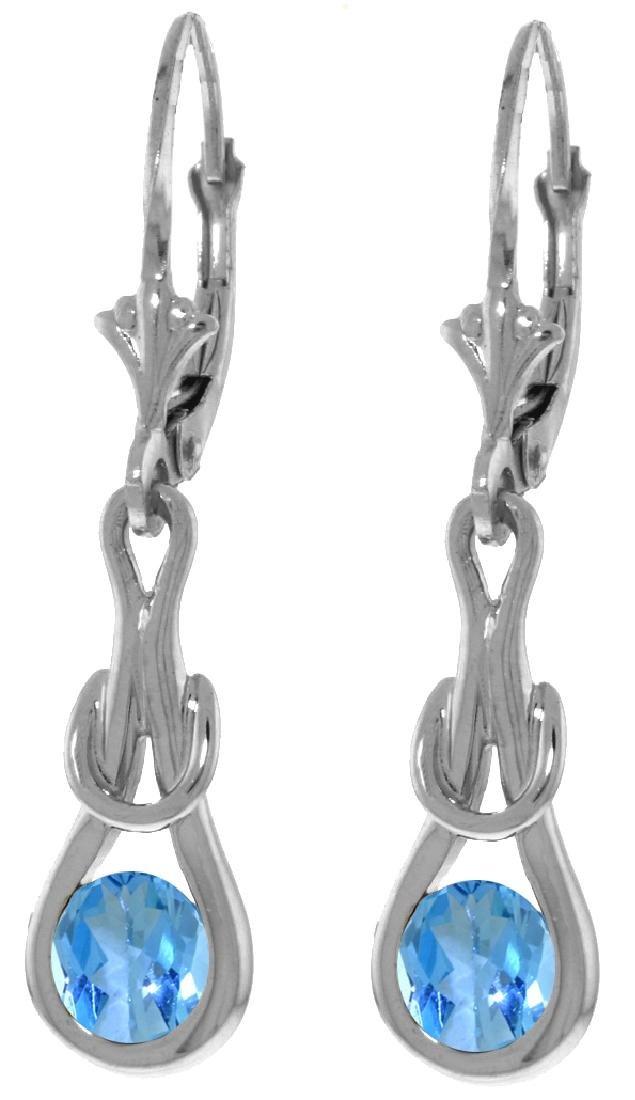 Genuine 1.30 ctw Blue Topaz Earrings Jewelry 14KT White