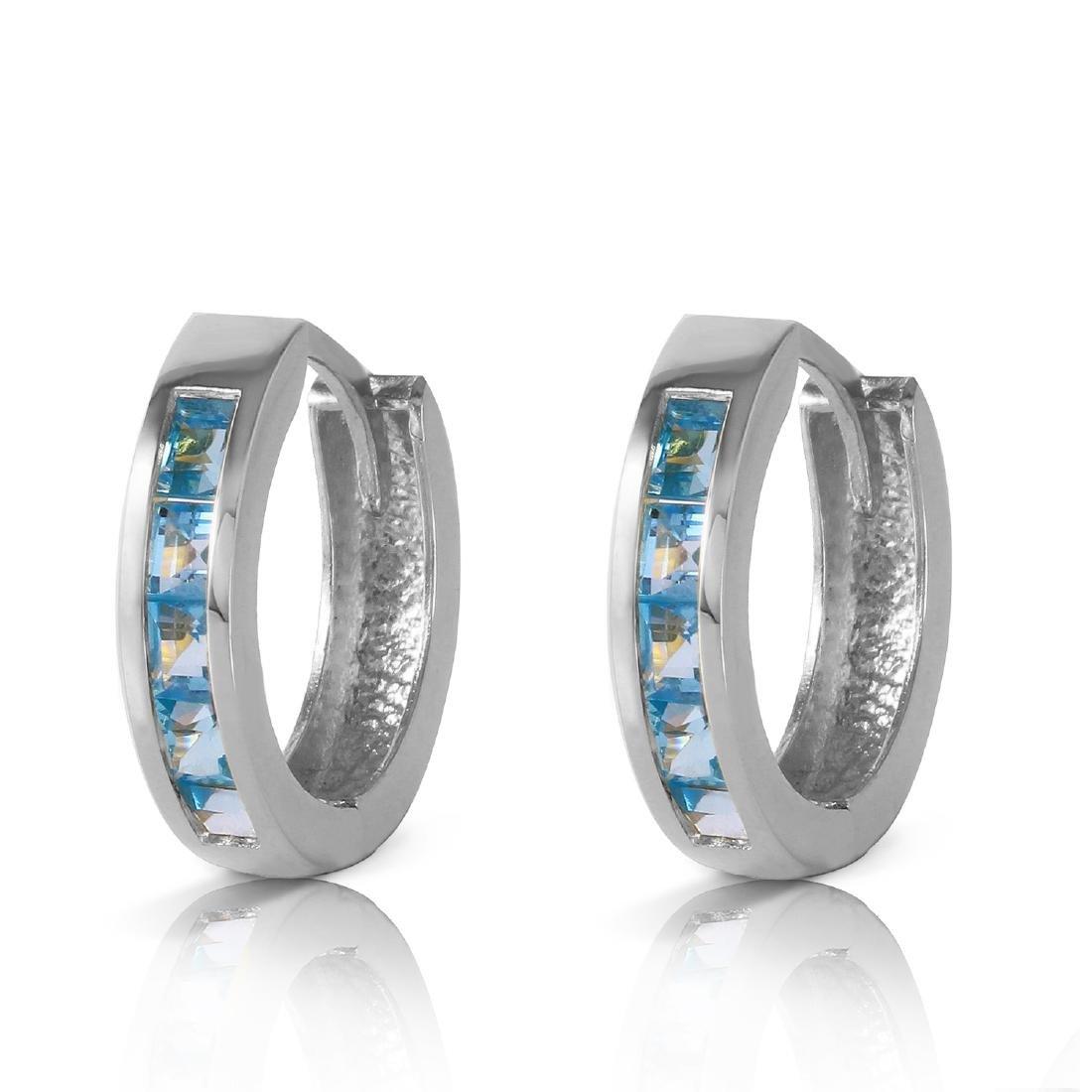 Genuine 1.20 ctw Blue Topaz Earrings Jewelry 14KT White