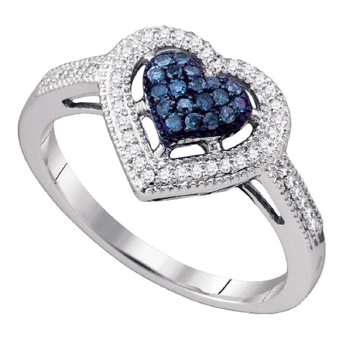 0.25 CTW Blue Color Diamond Framed Heart Ring 10KT