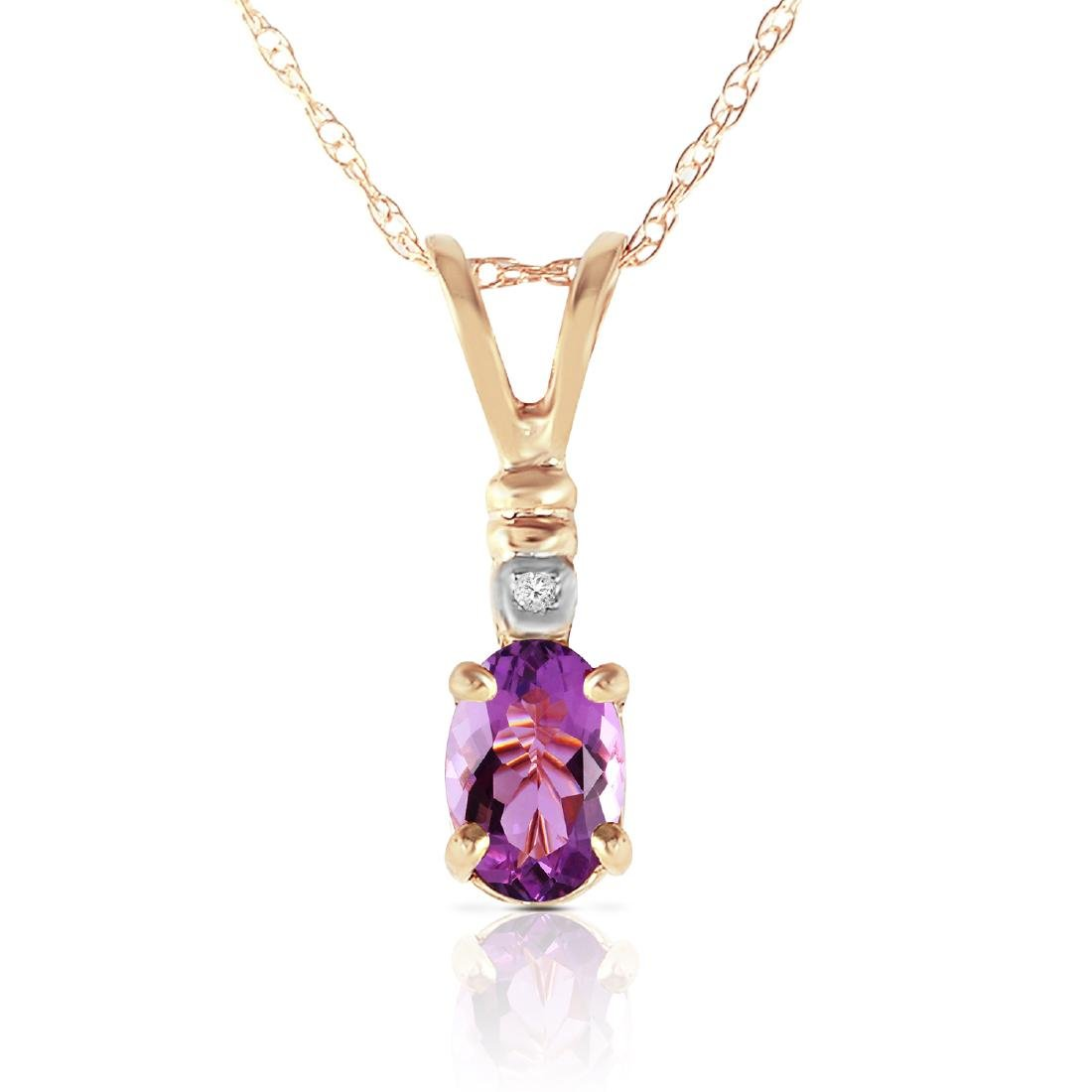 Genuine 0.46 ctw Amethyst & Diamond Necklace Jewelry
