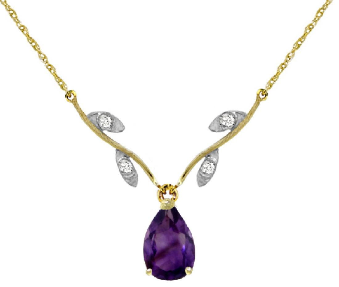 Genuine 1.52 ctw Amethyst & Diamond Necklace Jewelry