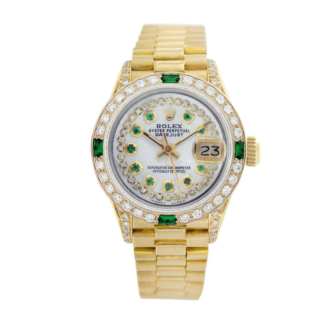 Rolex Pre-owned 26mm Womens String White MOP 18K Gold -
