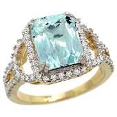 Natural 278 ctw aquamarine  Diamond Engagement Ring