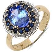 273 CTW Tanzanite Blue Sapphire  Diamond Ring 14K